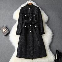 Women autumn winter woollen coat lurex fringe stand collar pearls beading single breasted designer overcoat outerwear black