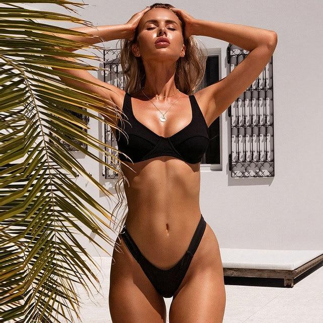 Push Up Padded Ribbed Bikini Set 6