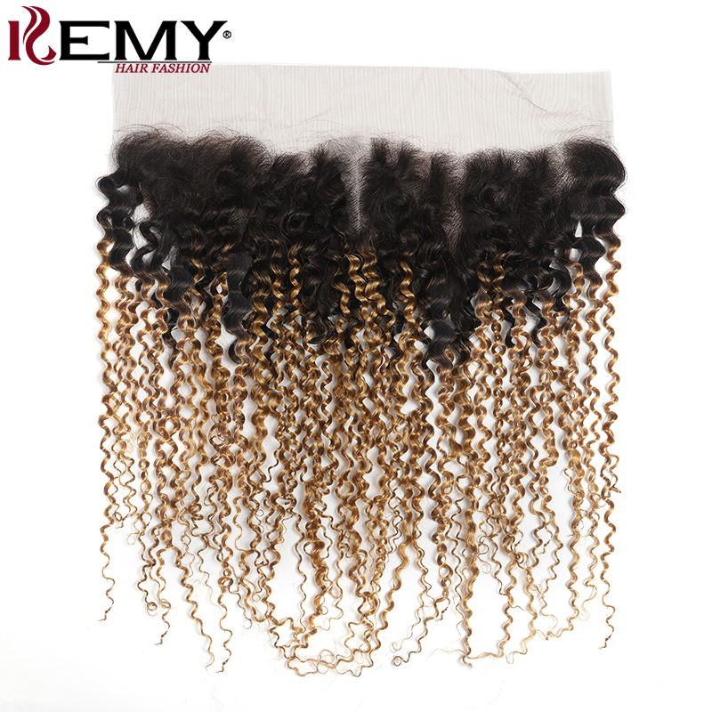 T1B/27# Ombre Blonde Lace Frontal Closure 13x4 Free/Middle Part Brazilian Kinky Curly Human Hair Lace Closure Non-Remy KEMY