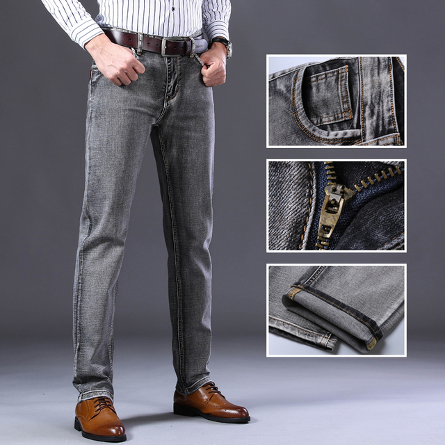 Stretch Regular Fit Jeans Business Casual Classic Style  4