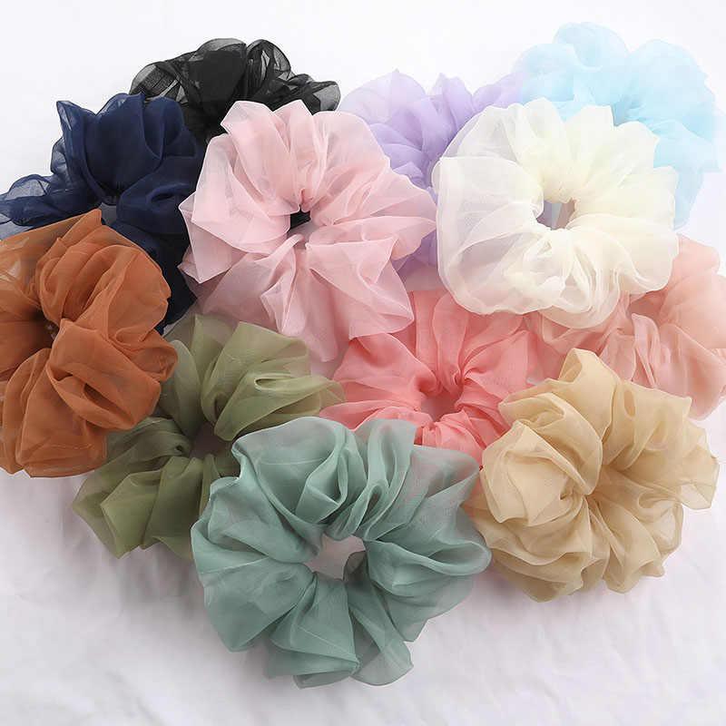 Oversize Size Organza Hair Ring Chiffon Scrunchie Elastic Rubber Band Hair Tie B