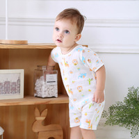 Onesie Infant Summer Gauze Romper Newborns Short Sleeve Crawling Clothes Breathable Open Crotch Cool And Refreshing Pajamas Baby