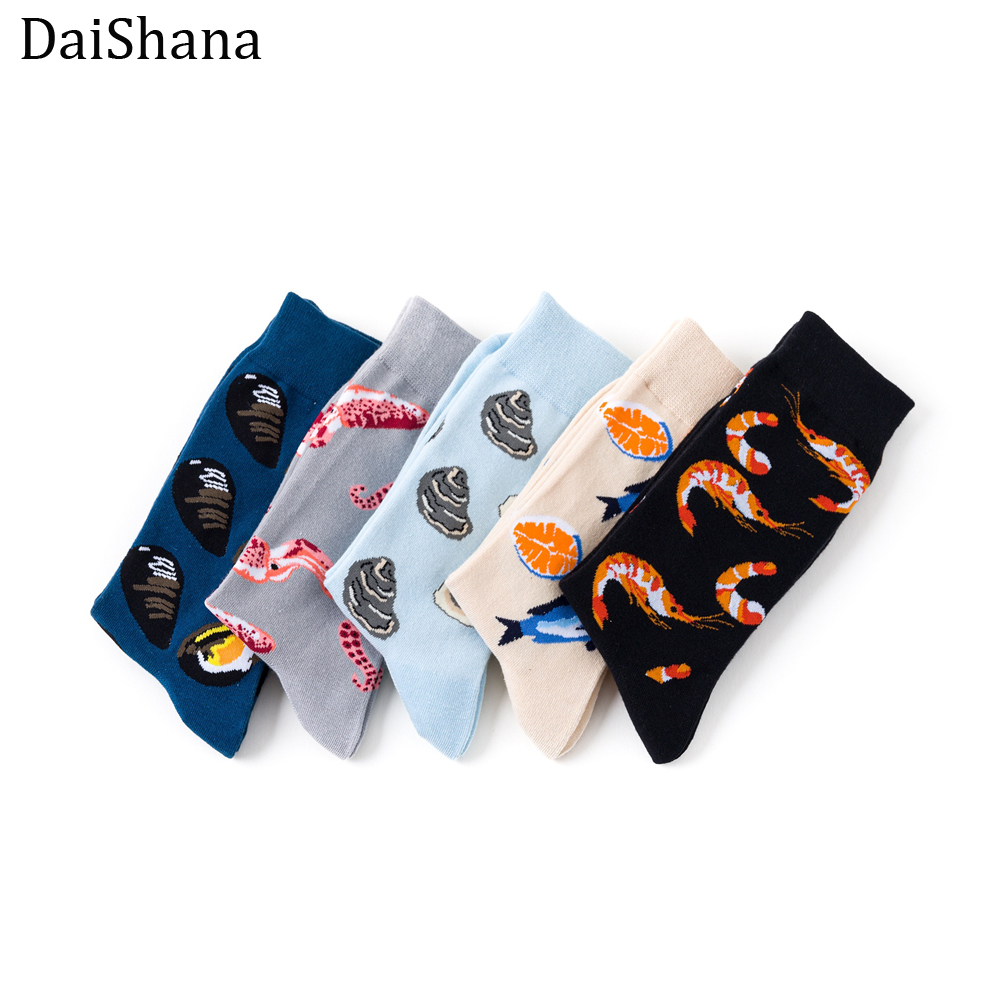 [DaiShana]Harajuku Funny Socks Food Seafood Actic Shrimp/Squid Socks Women Divertidos Milk Creative Life Sokken Chaussette Femme