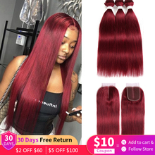 Straight-Bundles Closure Human-Hair Blonde Brown Burgundy Remy EUPHORIA Brazilian Red