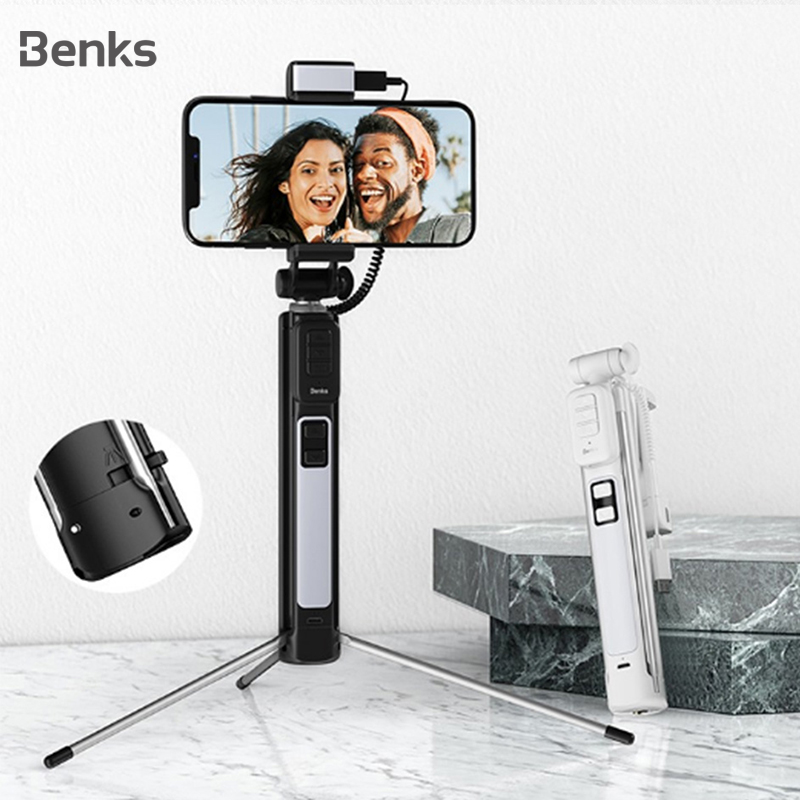 Benks New Wireless <font><b>Bluetooth</b></font> Selfie Stick Tripod Extendable With <font><b>Shutter</b></font> Button <font><b>Remote</b></font> <font><b>Control</b></font> Universal For iPhone 11 XR Xiaomi image
