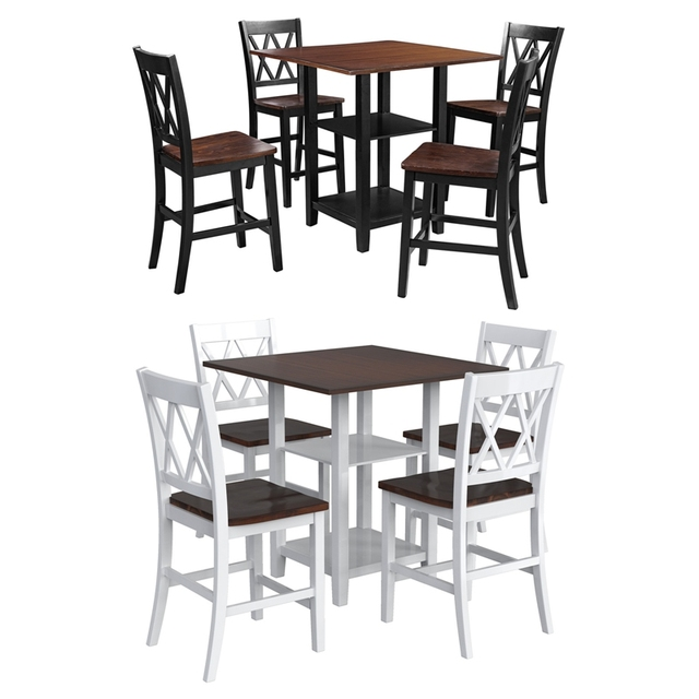 5 Piece Dining Set With Double Shelf And Matching Chairs For Family Use, Dining Room Furniture Set 2