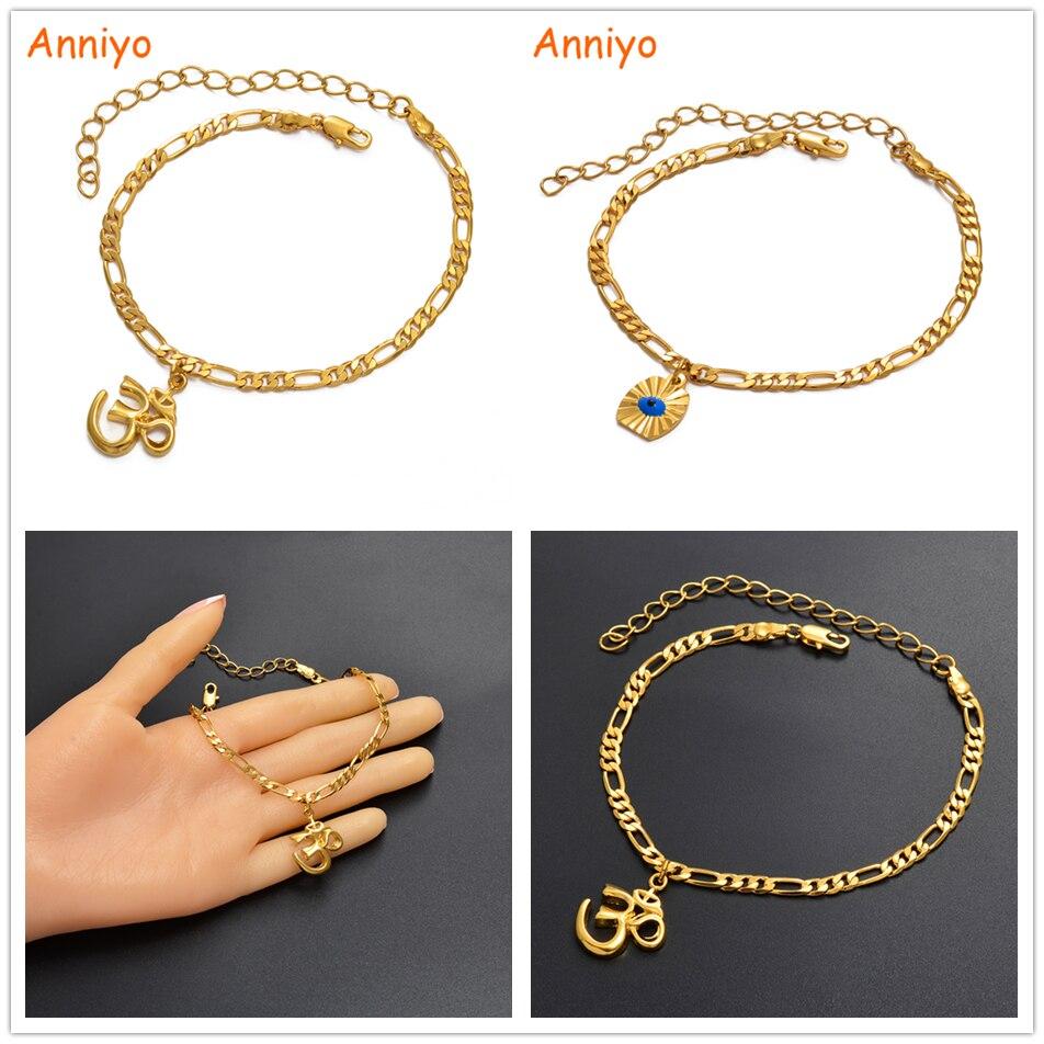 Anniyo African Symbols Eye Yoga India OM Hinduism,Telugu Aum African Anklet Sudan Ancient Ornaments Arab Foot Chain #22206