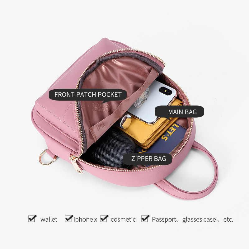 2020 Fashion Ransel Wanita Ransel Kecil PU Kulit Wanita Tas Bahu Tas Desainer Mochila Wanita Kembali Pack Bagpack