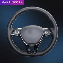 Trenza de coche en la cubierta del volante para Volkswagen VW Golf 7 Mk7 nuevo Polo 2014 2015 2016 2017 con cubierta de cuero Original para coche