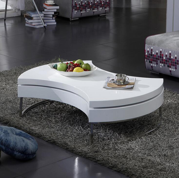 Modern Creative Rotating Coffee Table Fan-shaped Storage Round Sofa Table Living Room Center Table Small Table Home Furniture