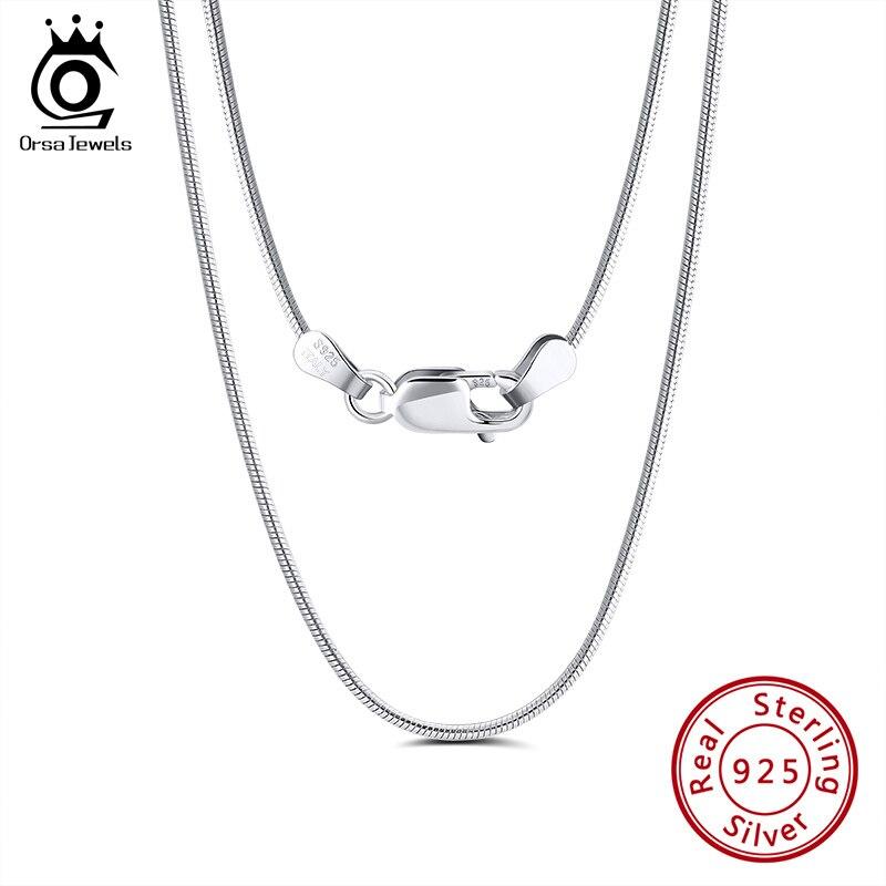 ORSA JEWELS Italian 925 Sterling Silver 1.5mm Round Snake Chain Necklace Sterling Silver Neck Chains Men Pendant Jewelry SC30