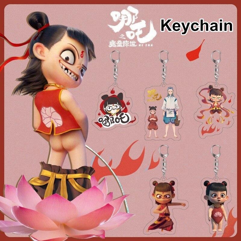 1Pc Chinese Anime NE ZHA Acrylic Key Chain Ne Zha Ao Bing Cartoon Figure Pendant Key Holder Keychain GIfts