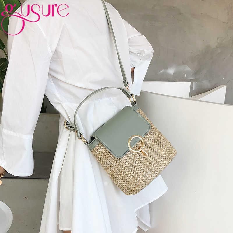 Gusure小さなわらバケットバッグ女性 2020 夏のクロスボディバッグレディトラベル財布やハンドバッグ女性のショルダーバッグ
