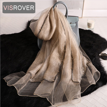 VISROVER new summer women silk scarf with pearls fashion Wom