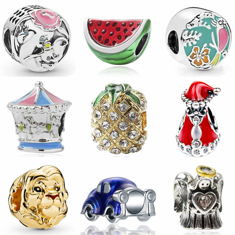 High Quality Enamel Car Watermelon Robot Carousel Pineapple Crystal Beads Fit Original Pandora Charms Bracelets for Women DIY