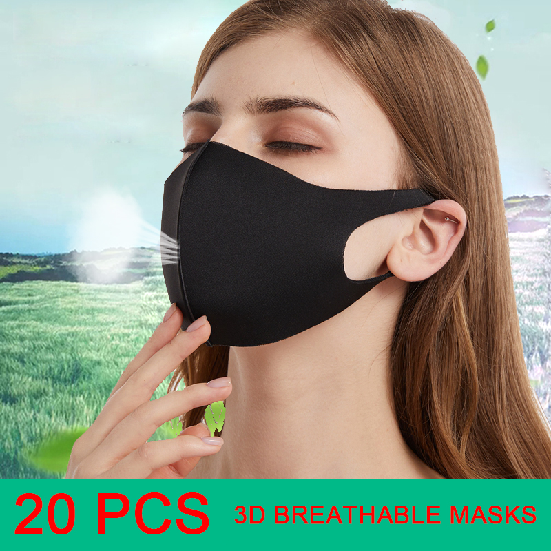 20PCS Korean 3D Anti Dust Mask PM2.5 Air Pollution Mouth Face Mask Winter Washed Reusable Masks Men Women