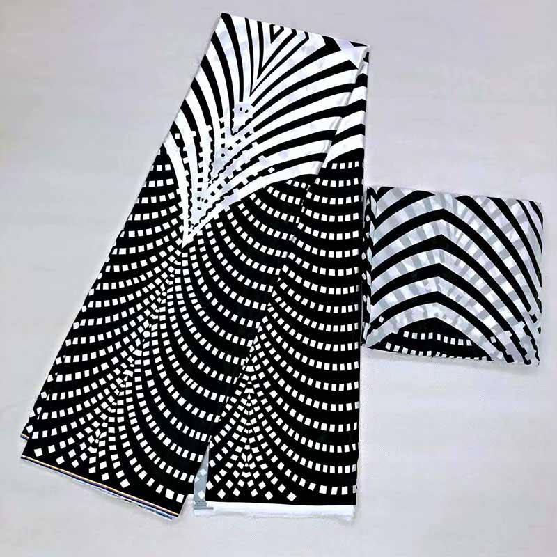 Tissu en mousseline de soie imité noir et blanc tissu en mousseline de soie tissu africain ankara africain cire imprime tissu 5 + 2 yards! MS01