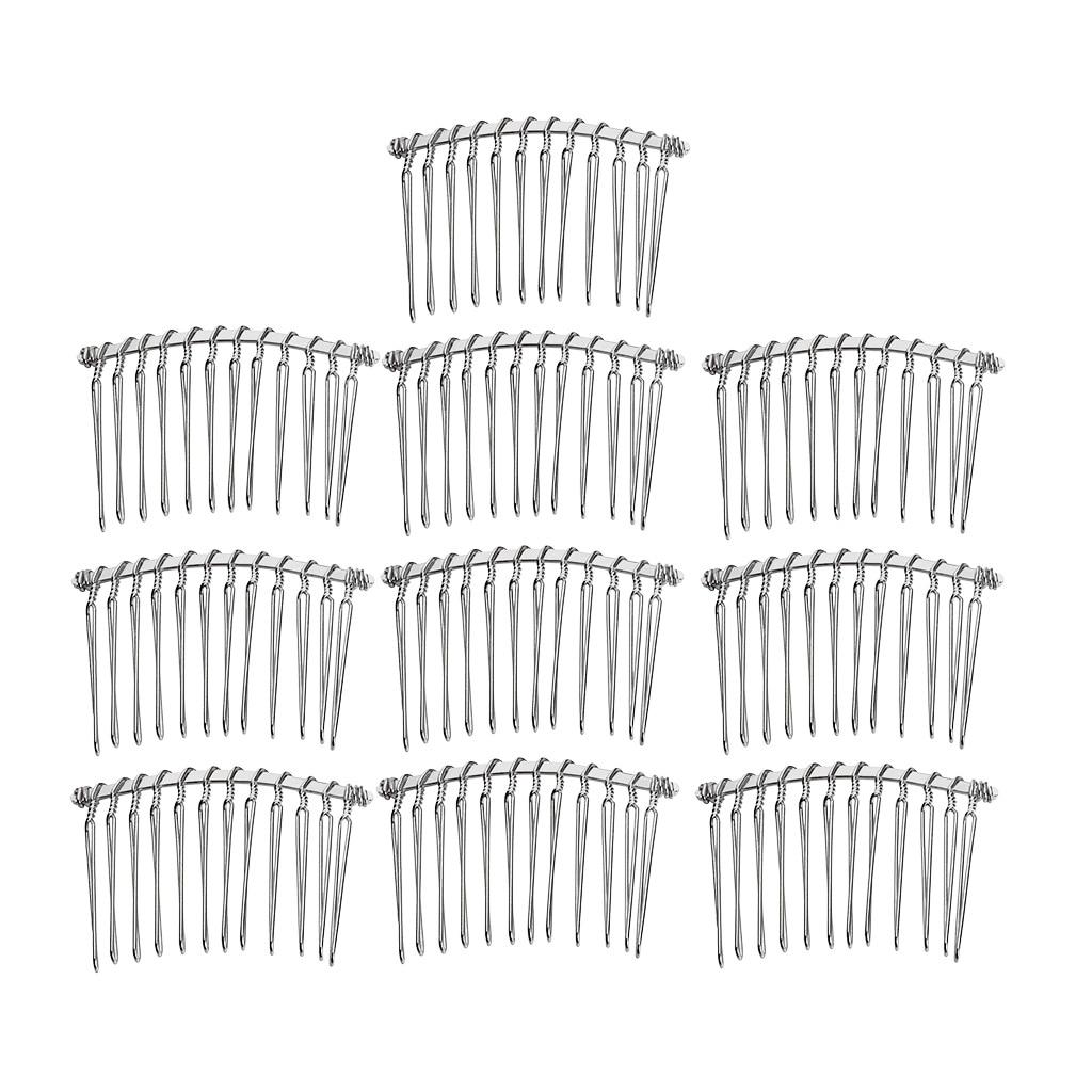 10 Pieces Metal Plain 12 Teeth Hair Combs Pin Slide Side Comb Headpieces for DIY Women Hair Accessories Bridal Veil Fascinator