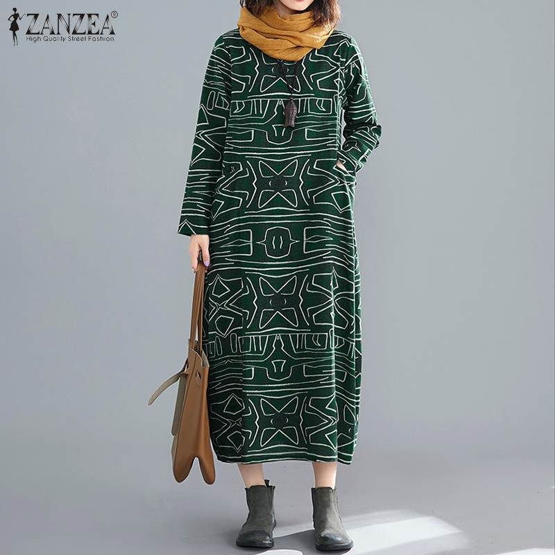 ZANZEA Plus Size Women Long Maxi Dress 2019 Autumn Vintage Printed Square Neck Vestidos Loose Pockets Sundress Baggy Dresses 7