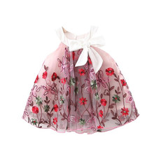 DFXD Newborn Bow Princess Dresses 2020 Summer Baby Girls Flower Embroidery Ball Gown Vest Dress Kids Party Clothing Infant Dress baby princess dress white flower girls dresses big ball gown short sleeve lace summer girl s dress kids tulle bow gowns e315