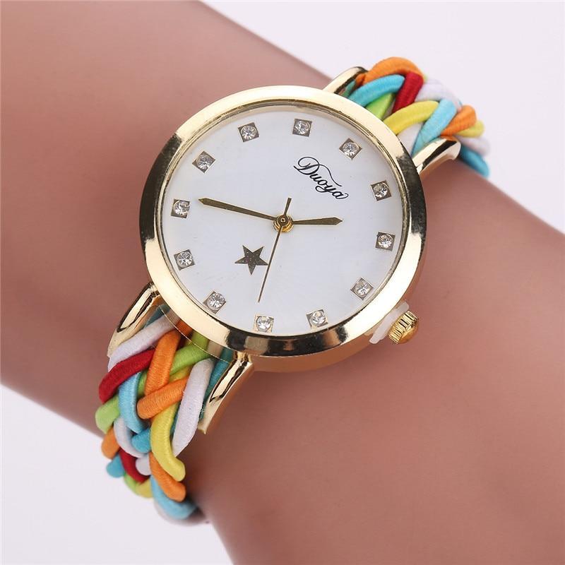 Fashion Cute Women\'S Watch Braided Rope Pu Bracelet Watches Quartz Watch Clock Relogio Feminino