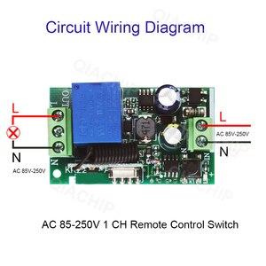 Image 4 - Qiachip 433 433 mhzのac 85v 110v 220v 1 chワイヤレスリモコン受信リレースイッチモジュールled光ランプ制御部 433.92 mhz