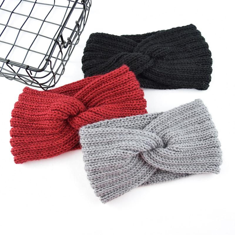 2019 New Solid Color Crochet Knitting Woolen Headbands Autumn Winter Women Bohemian Weaving Cross Headbands Handmade Hairbands