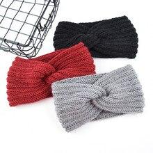 Diademas de punto de lana de Color liso para mujer, diademas cruzadas tejidas bohemias, diademas artesanales, otoño e invierno, novedad de 2019