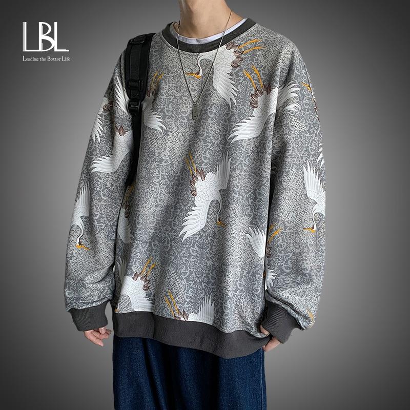 Männer Streetwear Casual Kran Hoodies 2021 Herren Hip Hop Harajuku Sweatshirts Männlichen Koreanischen Mode Crewneck Sweatshirt Pullover