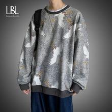 Los hombres Streetwear Casual Crane sudaderas con capucha 2021 Mens Hip Hop Harajuku Sudaderas Hombre coreano sudadera de moda con cuello redondo suéteres