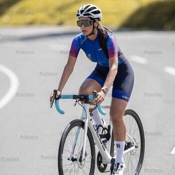 Grsrxx triathlon camisa de ciclismo das mulheres define manga curta pro equipe macacão bicicleta conjunto jérsei 2021 verão bicicleta corrida skinsuits