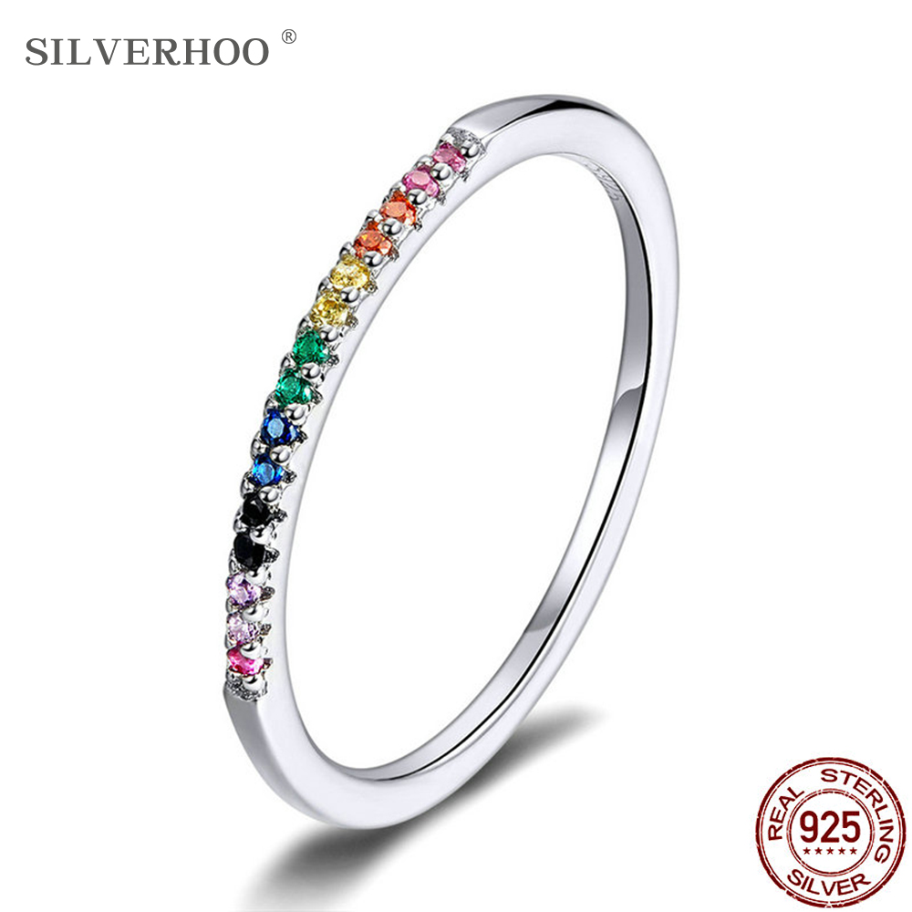 SILVERHOO Rainbow Color Finger Rings For Women Stackable Match Joker Wedding Sterling Silver 925 Jewelry Give Gifts For Friends