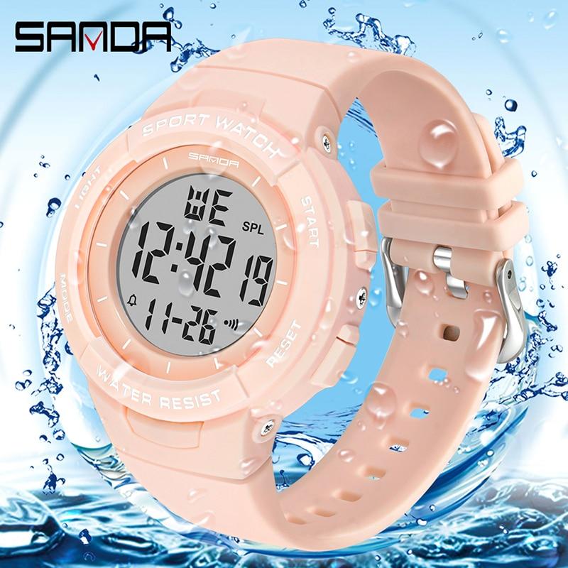 Montres électroniques pour femmes, Bracelet à la mode, chronomètre pour filles, de marque SANDA, horloge antichoc 2