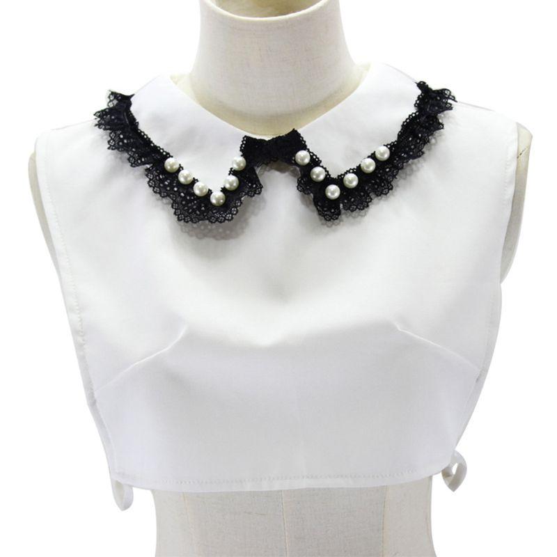 Femmes filles douce poupée noir dentelle florale garniture revers faux faux col bijoux Im 40JF