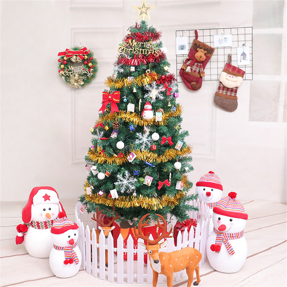 252 pièces/ensemble 150 180 210 cm arbres de noël artificiels ensemble avec lumières vacances décoration de la maison neige nouvel an Topper arbre ornement