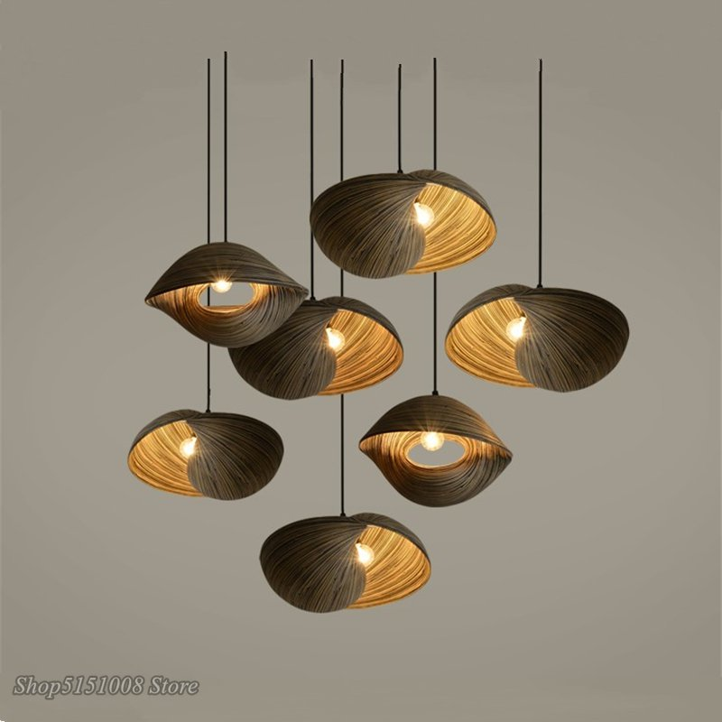 Bamboo Weaving Seashell Pendant Lamp Dining Room Parlor Kitchen Hanging Lamp Creative Coffee Country Decor Pendant Light Fixture