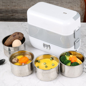 Multifunction Electric Lunch Box Double Stainless Steel Liner Insulation Portable Steam Heat Electric Rice Cooker Office