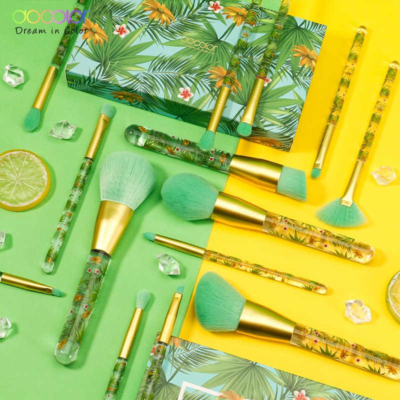Docolor 14 pièces ensemble de pinceaux de maquillage et 34 couleurs mat miroitant Palette de fard à paupières maquillage Palette Collection tropicale professionnelle