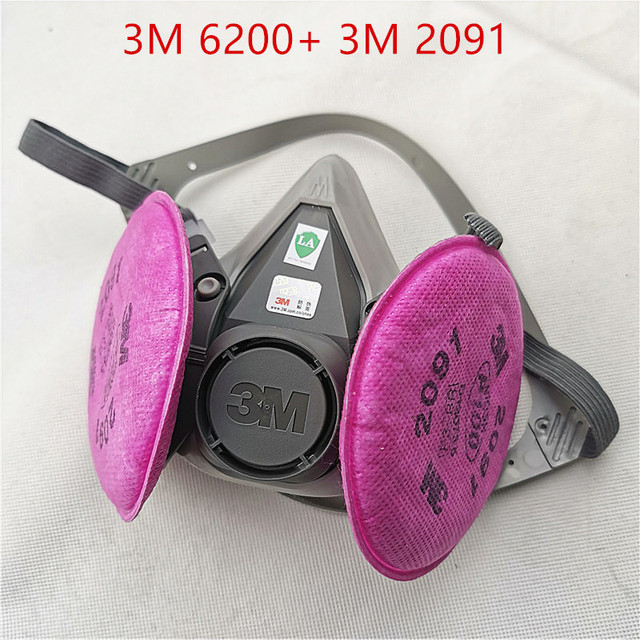 3M 6200 gas mask Facepiece  Respirator  with 3M 2091 Filter Suit