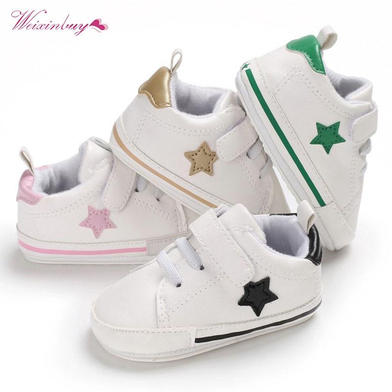 New PU Star Print Sport Baby Shoes Newborn Boys Girls First Walkers Infantil Toddler Soft Sole Prewalker Sneakers For 0-18M
