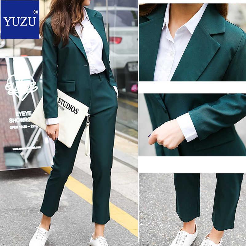 Womens 2 Piece Outfit Set Office Work Green Blazer Set Lady Suit 2020 Spring Long Sleeve Pantsuit Elegant Fashion 2 Piece Set
