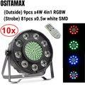 10 шт./лот светодиодный светильник Par софит RGBW 4IN1 9x4 Вт SMD светодиодный Дисплей Par64 может Цвет светомузыка светодиодные par-прожекторы огни