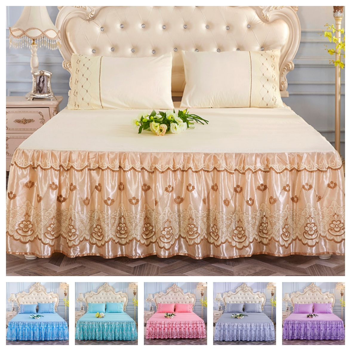2020 Princess Bedding Solid Ruffled Bed Skirt Pillowcases Lace Bed Sheets Mattress Cover King Queen Full Twin Size Bed Cover
