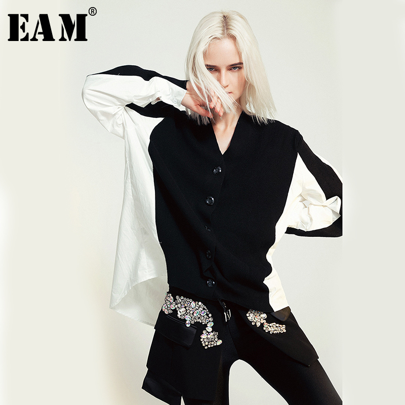 [EAM] 2020 New Spring Autumn V-collar Long Sleeve Black Hit Color Knittng Stitch Big Size Shirt Women Blouse Fashion Tide JO652
