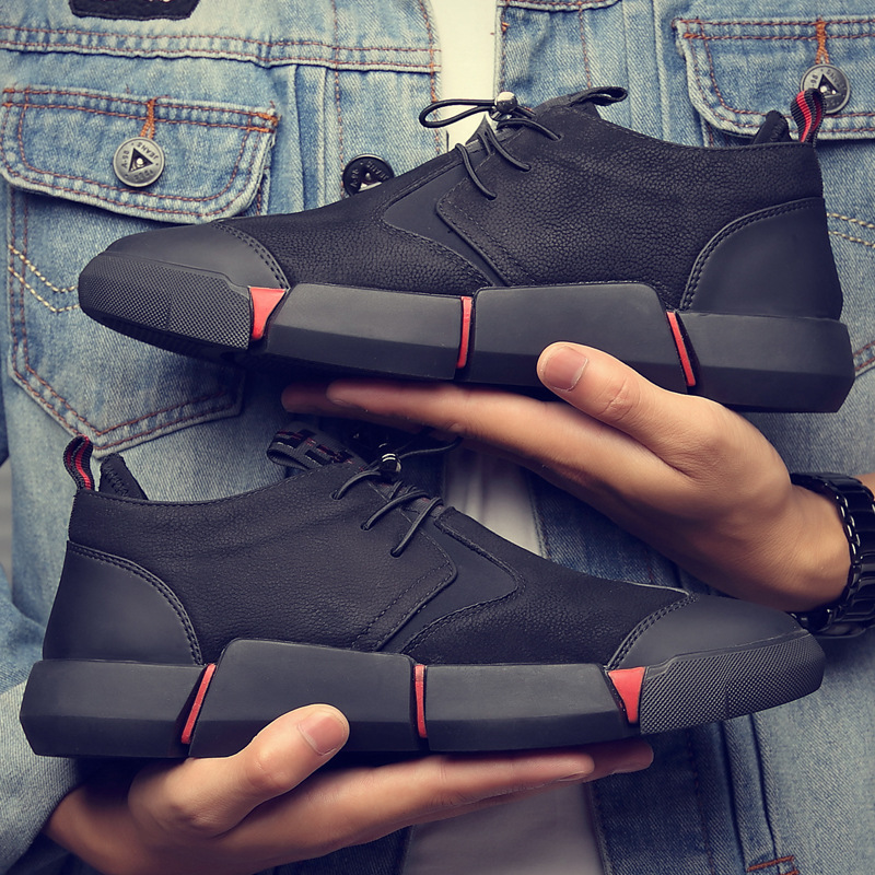 NAUSK 2019 NEW Brand High Quality All Black Men's Leather Casual Shoes Fashion Breathable Sneakers Fashion Flats