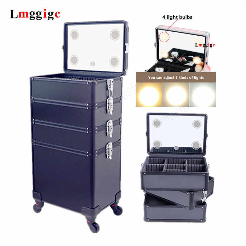 Multi-layer Aluminum frame Cosmetic Case,Dresser Makeup Toolbox with light,Makeup artist Suitcase Box,Trolley Luggage Bag