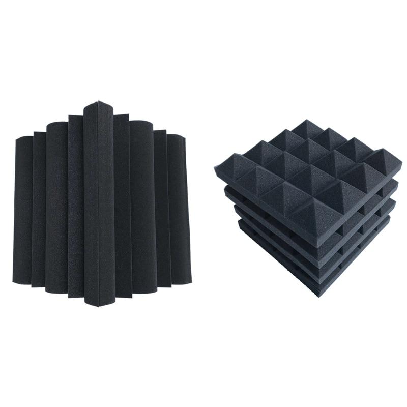 16 Pcs Acoustic Foams:12 Pcs Soundproofing Foam Sound Absorption Pyramid Studio Treatment Wall Panels & 4 Pcs Corner Bass Trap A