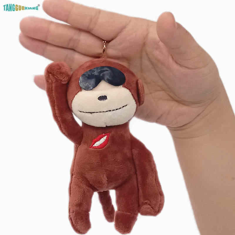 13cm סיטונאי רך ממולא בפלאש בעלי החיים בובות באיכות גבוהה קוף קטן תליון בפלאש צעצועי keychain תיק רכב מפתח שרשרת תכשיטים
