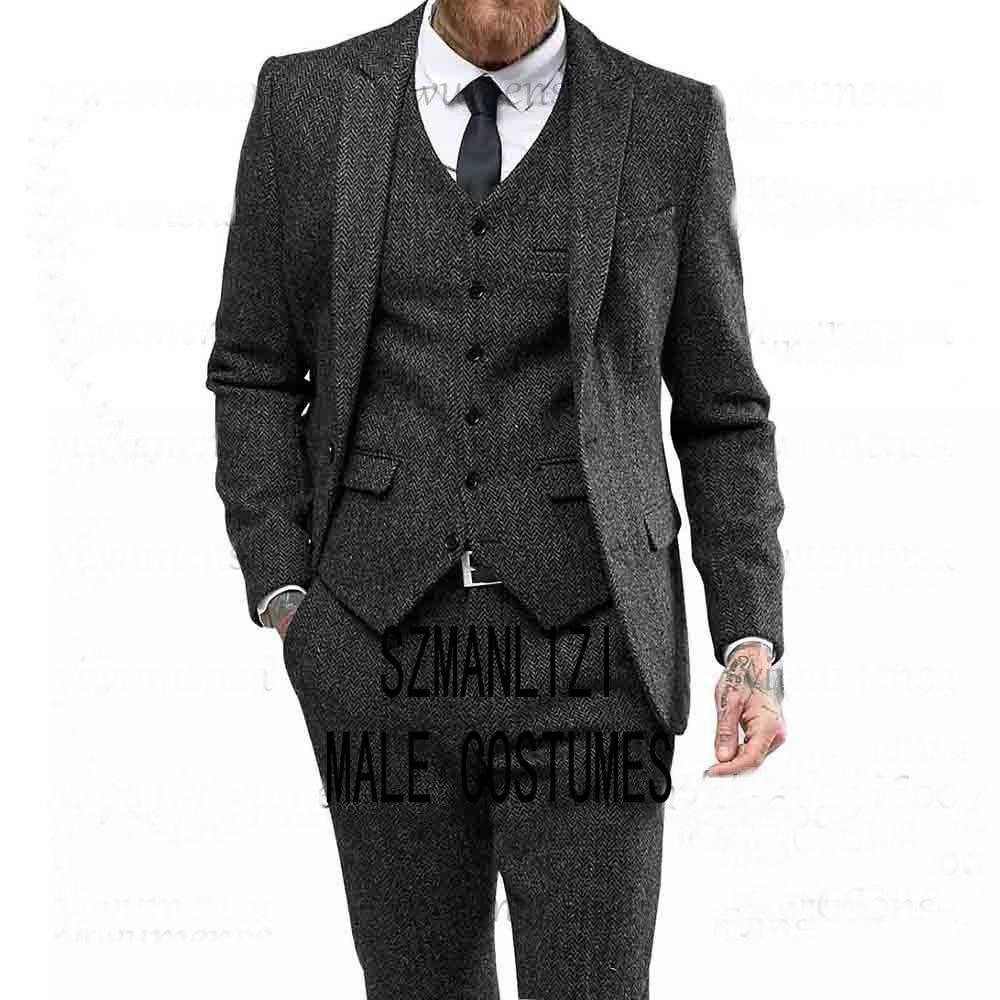 Latest Coat Pants Designs Dark Grey Tweed Suits Men Slim Fit Formal Herringbone Man Suit For Wedding Groom Smoking Blazer 2020