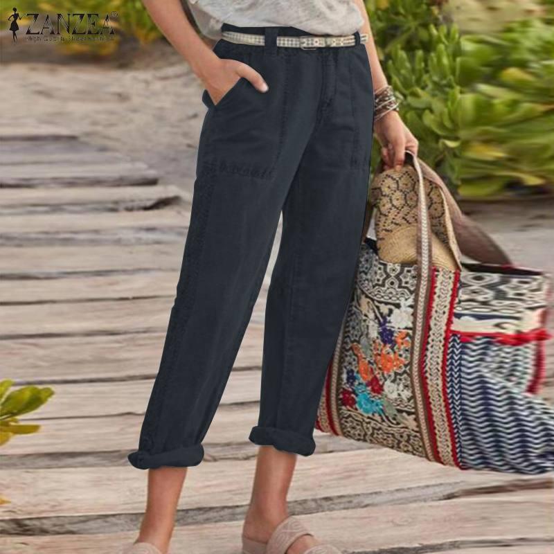 Stylish Lace Crochet Pants Women's Straight Trousers 2020 ZANZEA Casual Zipper Pantalon Palazzo Female Solid Turnip Plus Size